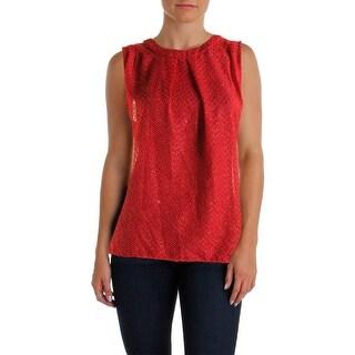 MICHAEL Michael Kors Womens Metallic Textured Pullover Top