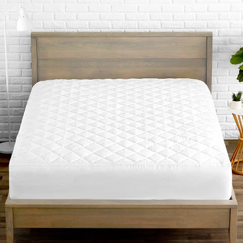 Bare Home Quilted Fitted Mattress Pad - Cooling Mattress Topper - White