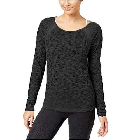 Ideology Womens Fitness Yoga Pullover Top Black S