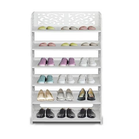 6 Tiers Shoes Rack Storage Organizer Wood-Plastic Board Shoe Tower Free Standing
