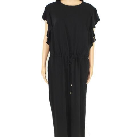 Lauren by Ralph Lauren Womens Jumpsuit Black Size 2X Plus Elastic Waist