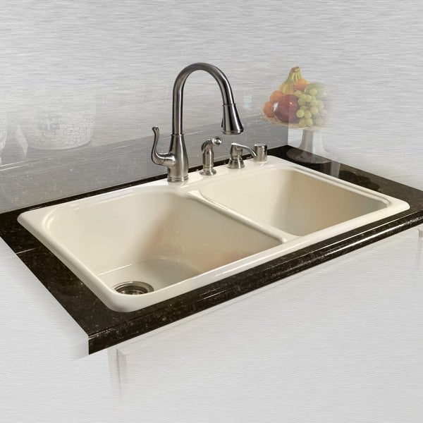miseno mci67 4tm 33 double basin drop in cast iron kitchen sink - Cast Iron Kitchen Sinks
