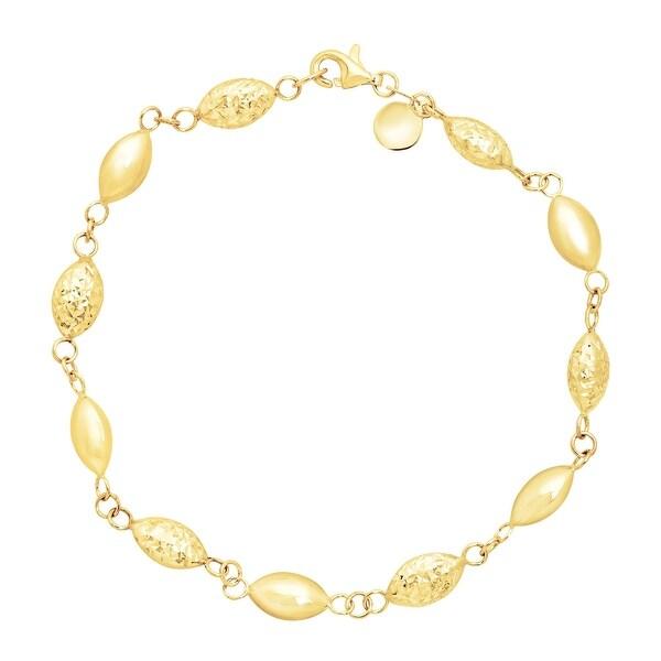 Just Gold Alternating Station Bead Bracelet in 14K Gold - Yellow