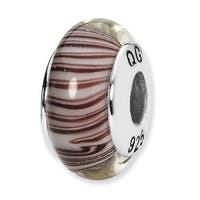 Sterling Silver Reflections White/Mauve Hand-blown Glass Bead