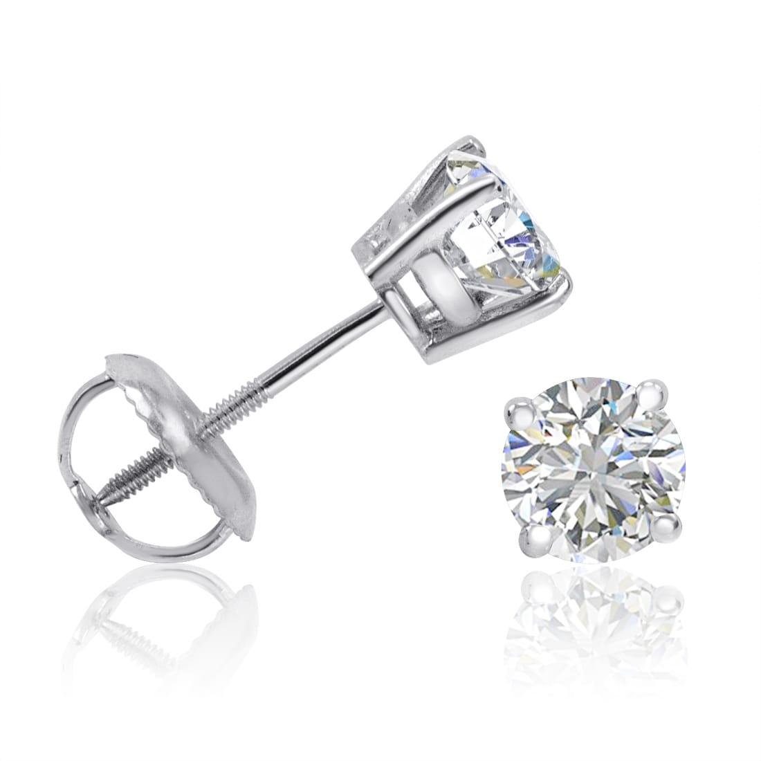Created Lab Diamond Princess Cut Screw Back Stud Earrings 14K White Gold 3TCW