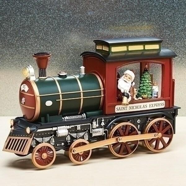 "14.25"" Battery Operated Saint Nicholas Express LED Musical Rotating Christmas Figure - green"