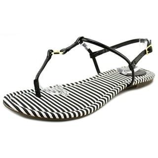Sebago Josslyn Women Open Toe Patent Leather Black Thong Sandal