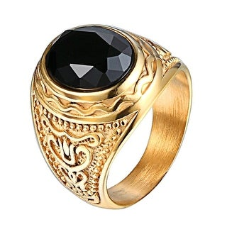 14k Gold Tone Mens Ring Black Dome Solitaire Stone Stainless Steel Designer