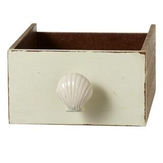 "Set of 12 Ivory Glossy Finish Nautical Themed Seashell Decorative Knob 2.25"""