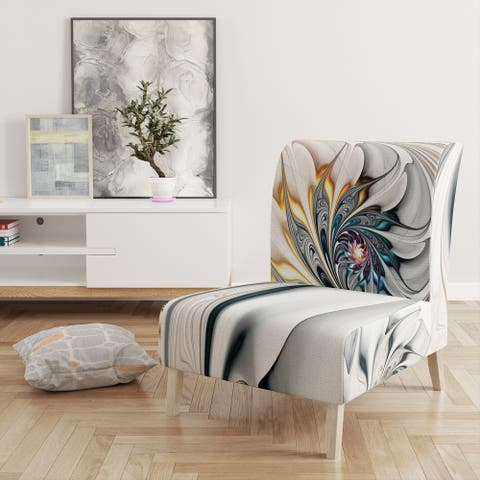 Designart 'White Stained Glass Floral' Upholstered Floral Accent Chair