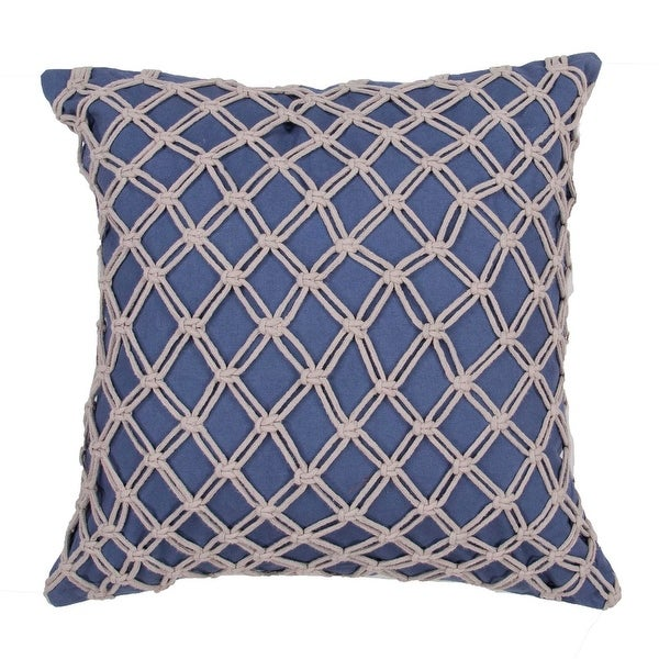 "22"" Indigo Blue and Smokey White Knotted Diamond Pattern Overlay Decorative Throw Pillow"