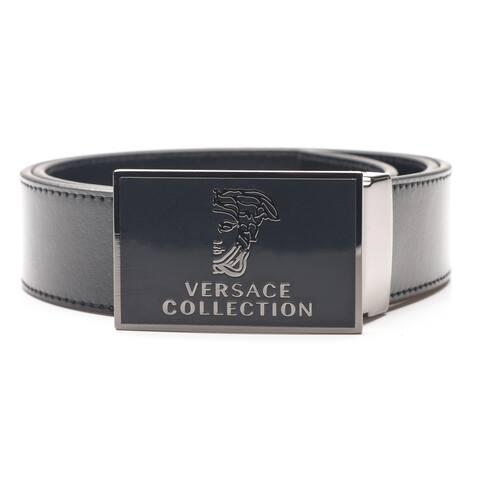 83725c27762 Versace Collection Men s Medusa Stainless Steel Buckle Leather Belt Black