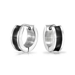 Bling Jewelry Stainless Steel Black Enamel Concave Hoop Earrings