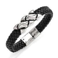 Chisel Stainless Steel Antiqued Black Leather Bracelet
