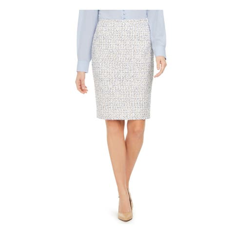 CALVIN KLEIN Womens White Above The Knee Pencil Skirt Size 12P