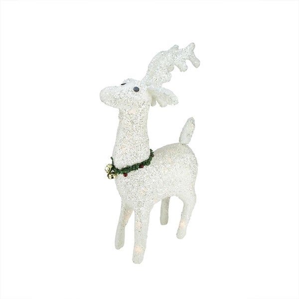 "28.5"" Lighted White Plush Glittered Reindeer Christmas Outdoor Decoration"