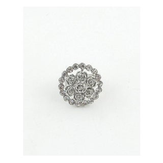 Adjustable Round Roses And Rhinestones Ring - Color - Silver