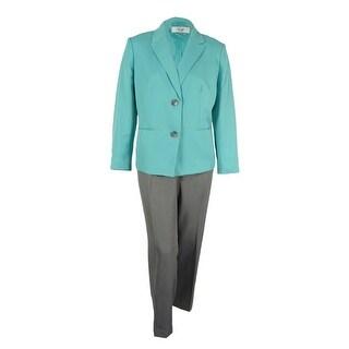 Le Suit Women's Plus Size Contrast Two-Button Pantsuit - seafoam/stone grey