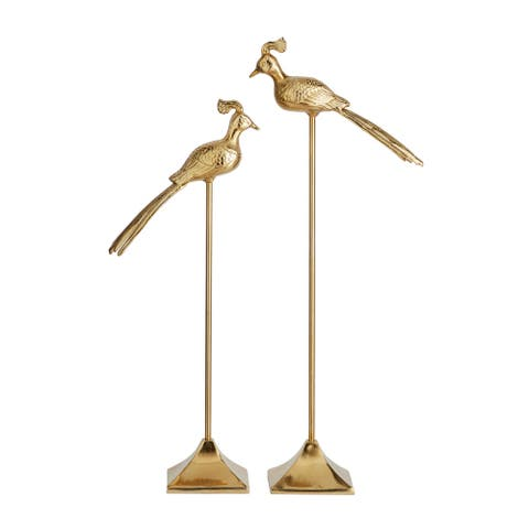 Tall Gold Metal Birds On Square Stand, Set Of 2 - 7 x 11 x 33