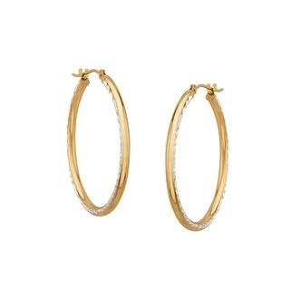 Medium Diamond-Etched Hoop Earrings in 10K Gold-Bonded Sterling Silver