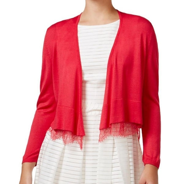 Tommy Hilfiger NEW Red Womens Size Medium M Lace-Trim Cardigan ...