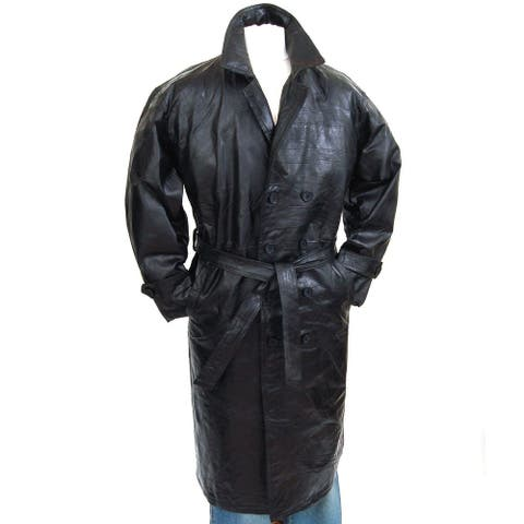 Mens Genuine Leather Double Breasted Trench Coat Full Length Blazer - Black