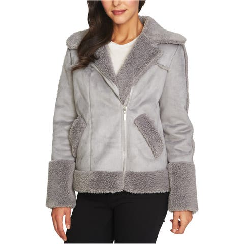 1.State Womens Faux-Fur Motorcycle Jacket