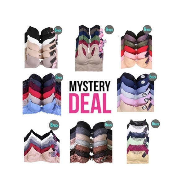 MYSTERY PACK OF 6 Assorted Color Underwire Bras. Opens flyout.