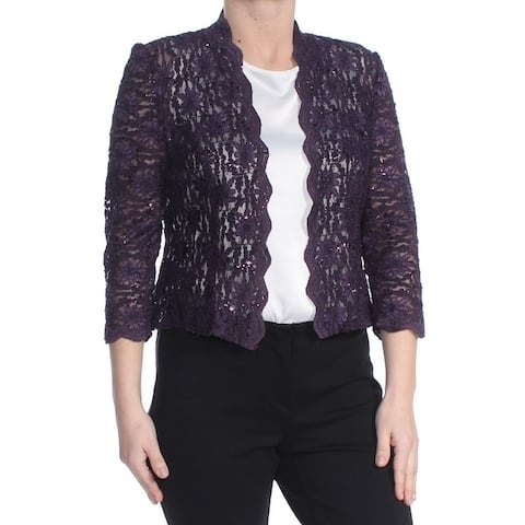 ALEX EVENINGS Womens Purple Sequined Open Cardigan Evening Top Petites Size: 12