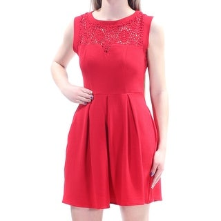 Womens Red Sleeveless Above The Knee Casual Dress Size: XS
