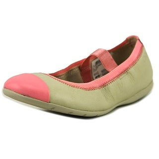 Clarks Dance Brite Youth Round Toe Leather Nude Flats