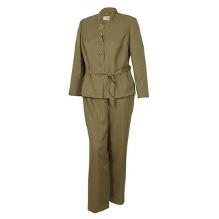 Le Suit Women's Business Stand Collar Suit Pant Set (16W, Khaki) - 16W