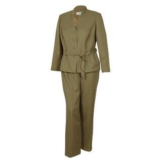 Le Suit Women's Business Stand Collar Suit Pant Set (16W, Khaki) - Khaki - 16W