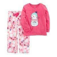 Carter's Baby Girls' 2 Piece Snowman Fleece Pajamas, 24 Months