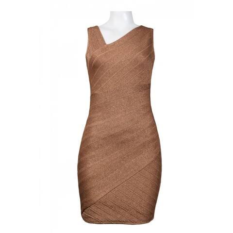 JS Collections Asymmetrical Shoulder Stretch Lurex Sheath Dress
