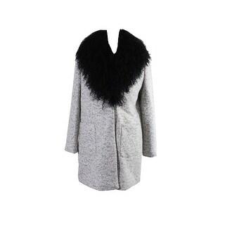 Calvin Klein White/Black Tibetan Lamb Fur-Collar Marled Coat M
