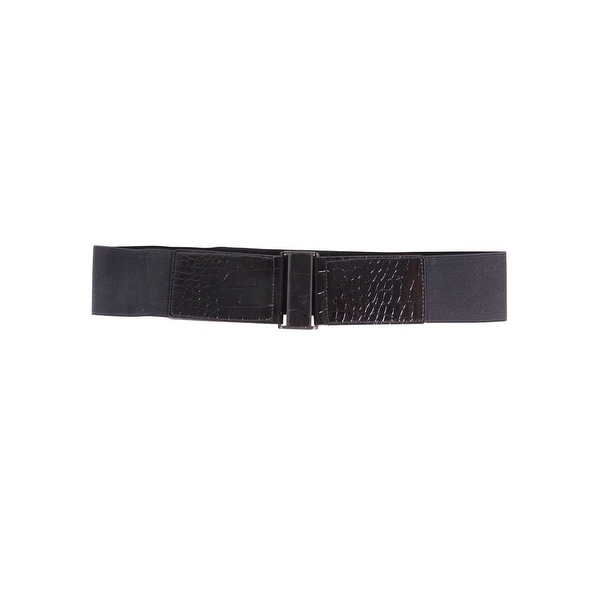 Style & Co. Women's Patent Croc Stretch Hook Belt - Black