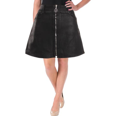 7 For All Mankind Womens Mini Skirt Coated Exposed Front Zipper
