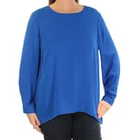 VINCE CAMUTO Womens Blue Cut Out Long Sleeve Jewel Neck Top  Size: S