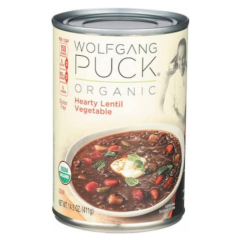 Wolfgang Puck Organic Thick Hearty Lentil and Vegetable Soup - Case of 12 - 14.5 oz.