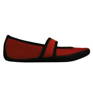 NuFoot Mary Jane Indoor Slippers Stretch with Non Slip Soles - Crimson
