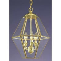 """Volume Lighting V5022 3-Light 17"""" Height 1 Tier Chandelier with Clear Beveled Glass Shade - Polished brass"""