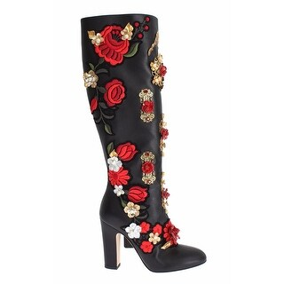 Dolce & Gabbana Black Red Roses Crystal Gold Heart Leather - 38