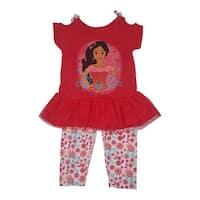Disney Little Girls Red Elena Of Avalor Bottom Mesh 2 Pc Legging Set