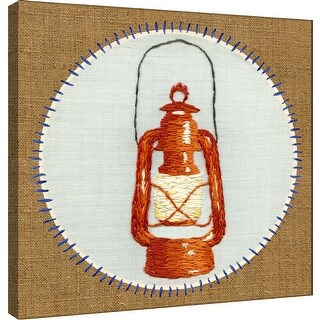 """PTM Images 9-100502  PTM Canvas Collection 12"""" x 12"""" - """"Vintage Camping Embroidery B"""" Giclee Text and Symbols Art Print on"""