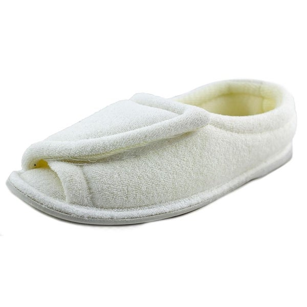 FootSmart Terry Open-Toe Slippers Women WW Open-Toe Canvas White Slipper