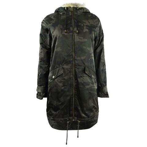 Lucky Brand Women's Camo Print Faux-Fur-Trim Coat (XS, Green Multi) - XS