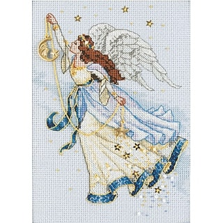 """Gold Petite Twilight Angel Counted Cross Stitch Kit-5""""X7"""" 16 Count"""