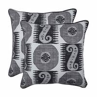 """Set of 2 Gray and Black Ikat-Inspired Geometric Pattern Indoor/Outdoor Throw Pillows with Trim 18.5"""""""