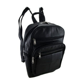 Black Leather Backpack Purse With Multiple Zipper Pockets